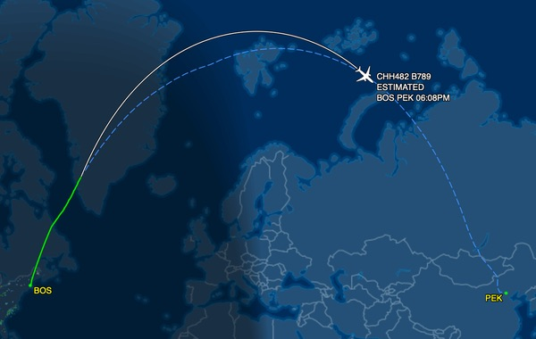 The flight's path on a map