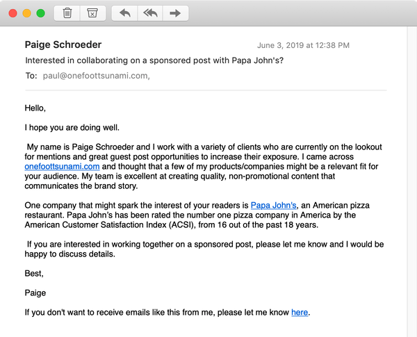 Email asking if I would accept a sponsored post from Papa John's