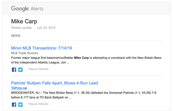 A Google Alert with news on Mike Carp