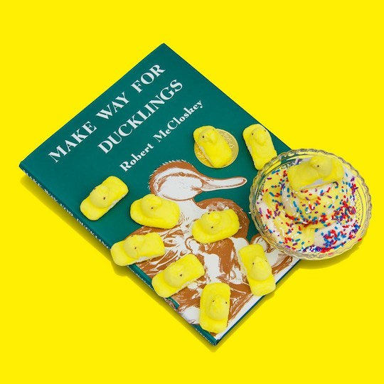 Peeps and icecream on the cover of Make Way for Ducklings