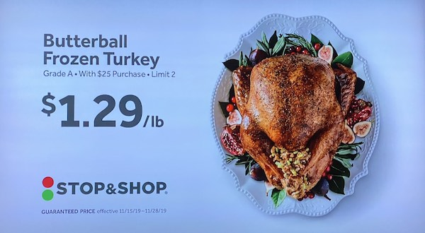 Butterball frozen turkey for $1.29 a pound