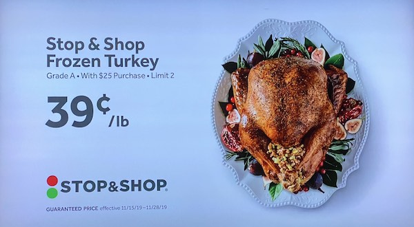 Stop and Shop Frozen Turkey for 39 cents a pount