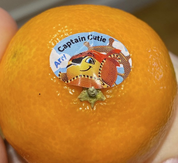 A sticker which reads 'Captain Cutie'
