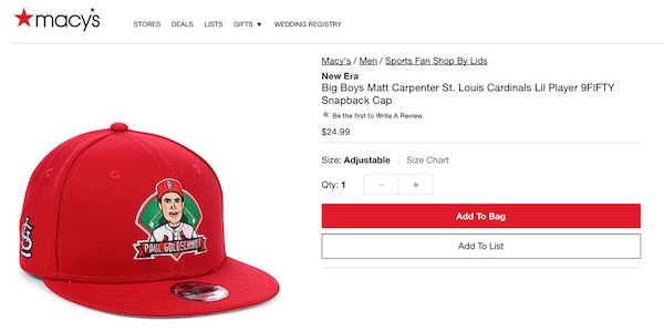 A hat that says Paul Goldschmidt, while the listing refers to Matt Carpenter