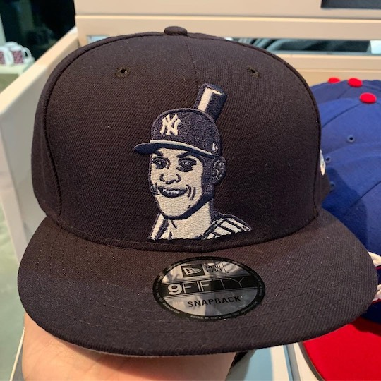 Another hat with a terribly drawn image of Aaron Judge, this one looking quite like a stereotypical zombie