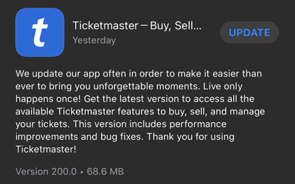Ticketmaster mobile ticketing app