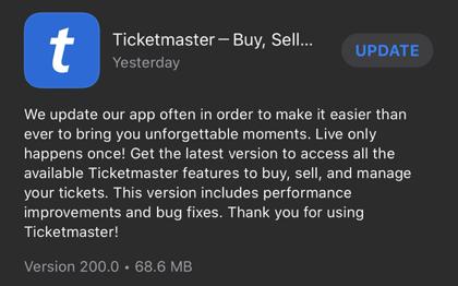 Ticketmaster mobile ticketing app