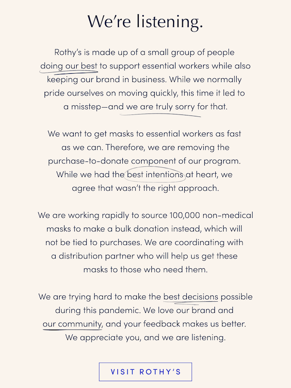 An email apologizing, and removing the sales-related portion of their mask donations.