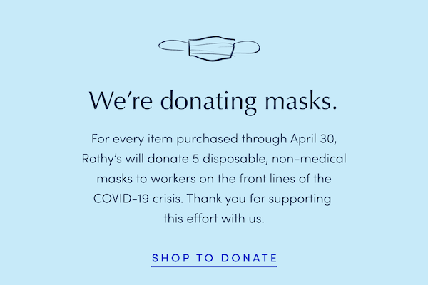 An email noting that Rothy's is donating masks with every purchase of shoes.