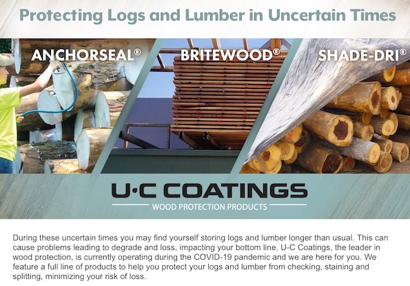 During these uncertain times you may find yourself storing logs and lumber longer than usual. This can cause problems leading to degrade and loss, impacting your bottom line. U-C Coatings, the leader in wood protection, is currently operating during the COVID-19 pandemic and we are here for you. We feature a full line of products to help you protect your logs and lumber from checking, staining and splitting, minimizing your risk of loss.