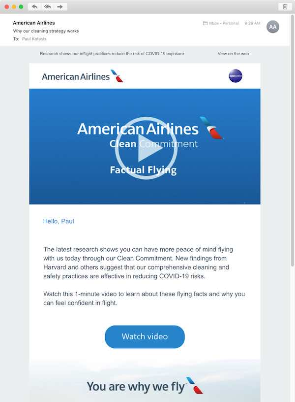 An email from American Airlines touting their cleaning practices, for flights you almost certainly shouldn't be taking.""