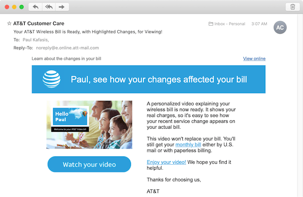 An email touting a personalized video to explain a cell phone bill