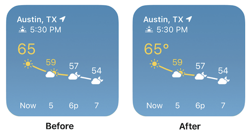 Image showing temperature without a degree symbol, and then with a degree symbol