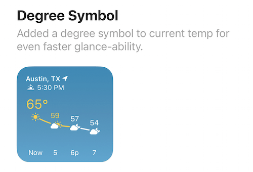 "Feature touting the addition of a degree symbol for ""fastr glance-ability"""