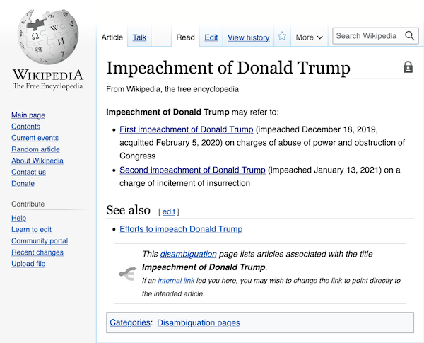 A Wikipedia disambiguation page, linking to Donald Trump's first impeachment, as well as his second.