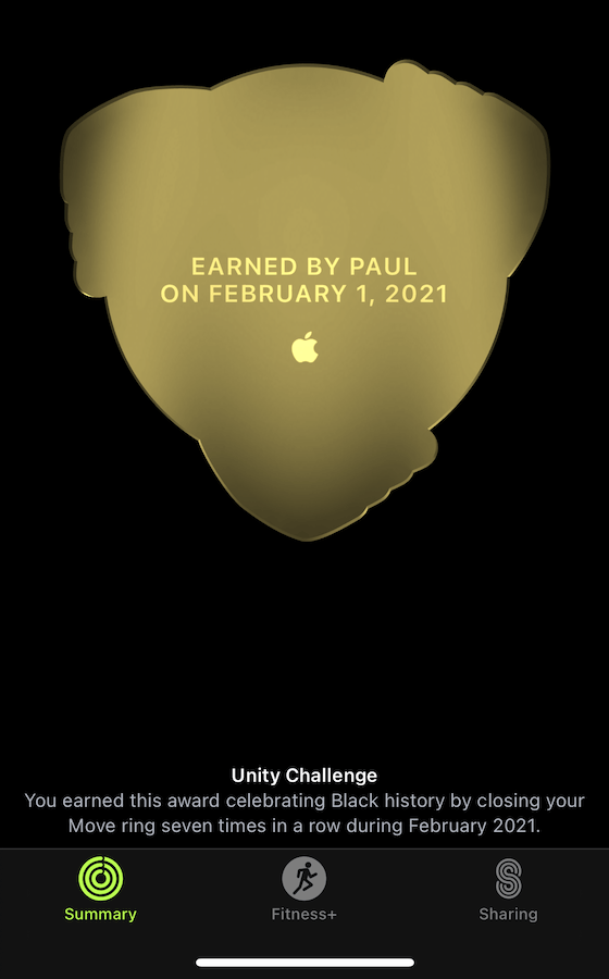 The Unity Challenge Badge back - Earned by Paul on February 1, 2021