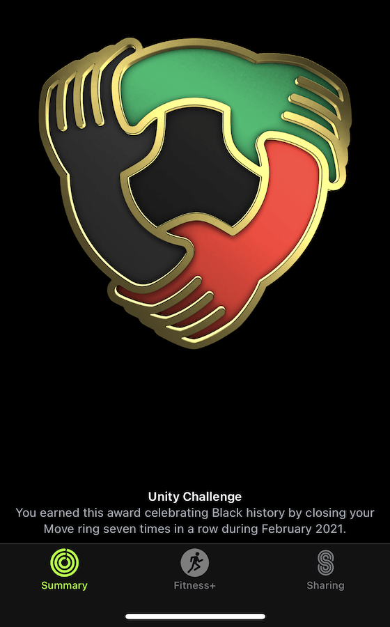 The Unity Challenge Badge front- You earned this award by closing your Move ring seven times in a row in February