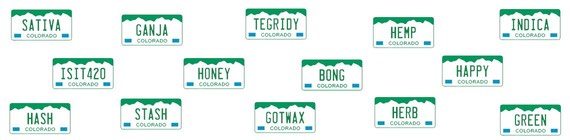 An assortment of marijuana-themed Colorado vanity plates