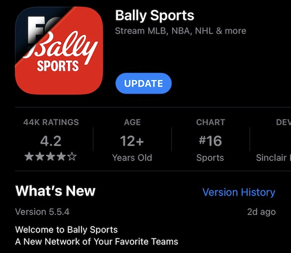 The Bally Sports app, in the iOS App Store
