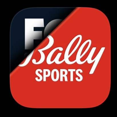A Bally Sports logo peeling back, with a Fox Sports logo slightly visible underneath.