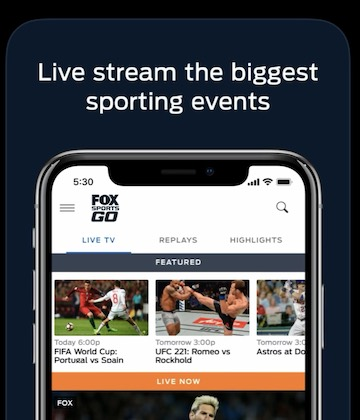 App screenshots from the App Store, still showing the Fox Sports Go logo