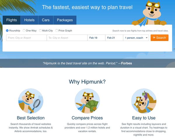 The old Hipmunk.com site