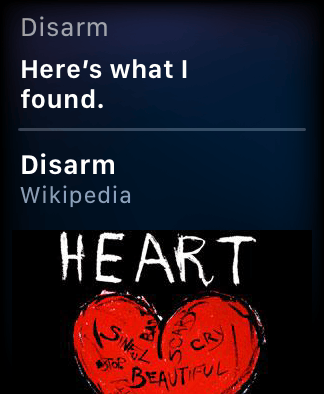 Siri on the Apple Watch showing information about a 28 year old Smashing Pumpkins song