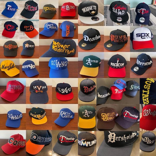 A large collection of custom hats