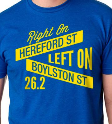 """A shirt reading """"Right on Hereford Street, Left on Boyslton Stree"""""""